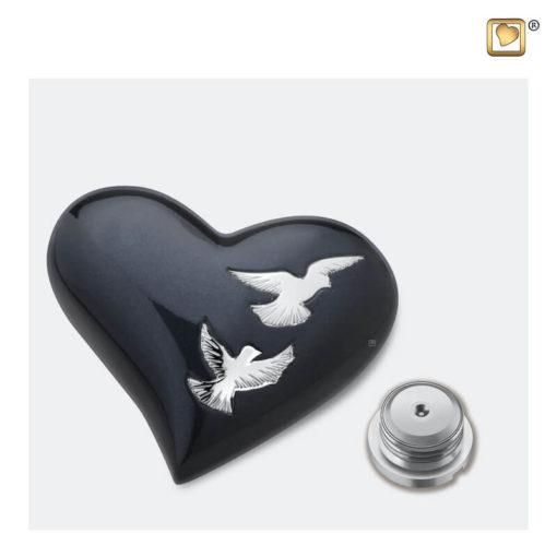 Mini urn hart met vogels antraciet met zilver H270 schroefdop