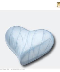 Mini urn hart parelmoer blauw H668