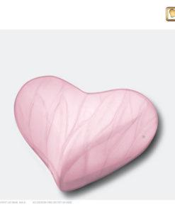 Mini urn hart parelmoer roze H667