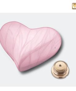 Mini urn hart parelmoer roze H667 schroefdop
