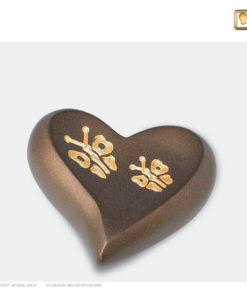 Mini urn hart vlinder bruin met goud H543