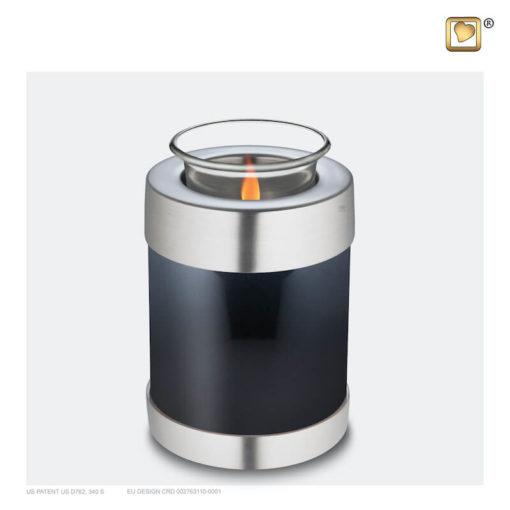 Premium urn waxinelichthouder antraciet met zilver T650