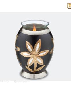 Premium urn waxinelichthouder bloem antraciet grijs met zilver en goud T503
