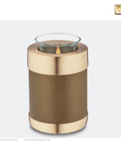 Premium urn waxinelichthouder bruin met goud T651