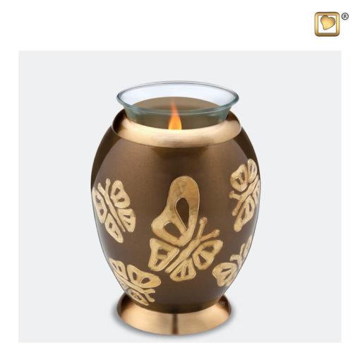 Premium urn waxinelichthouder vlinders bruin met goud T543