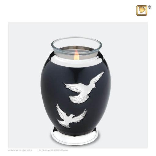 Premium urn waxinelichthouder vogels antraciet grijs T270