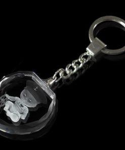 Glazen sleutelhanger inc. lasergravure (hart)