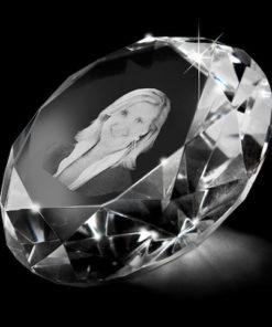 Glazen diamant met lasergravure