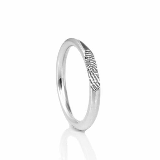 ring met vingerafdruk zilver