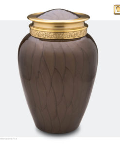 Premium urn bruin met gouden decoratie A291