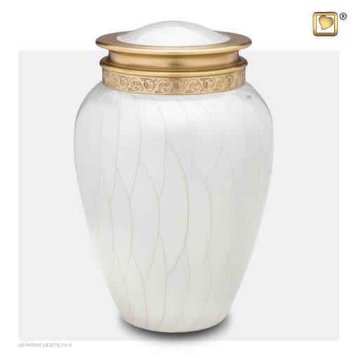 Premium urn wit met gouden decoratie A290