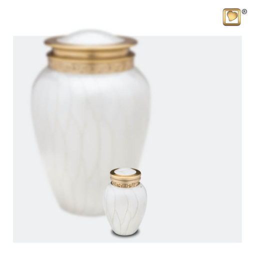 Premium urn wit met gouden decoratie A290 set