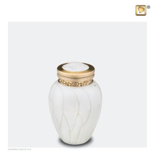 Premium urn wit met gouden decoratie K290
