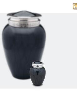 Premium urn zwart met zilveren decoratie A292 set