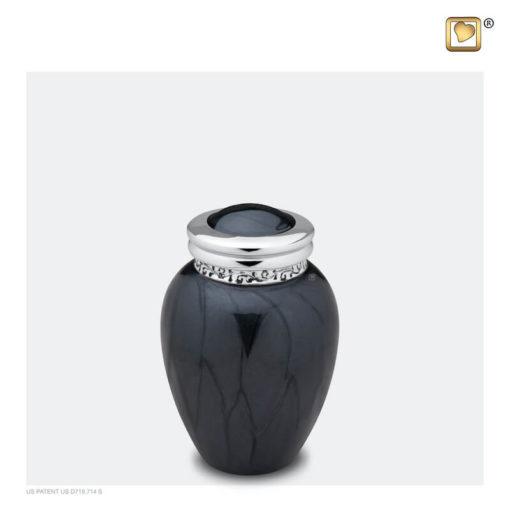 Premium urn zwart met zilveren decoratie K292