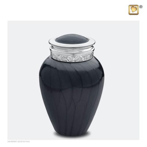 Premium urn zwart met zilveren decoratie M292