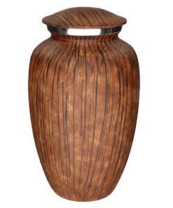Aluminium urn donkere houtlook